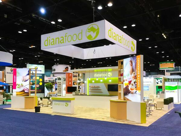 dianafood 30x40 trade show booth with large white overhanging sign at IFT